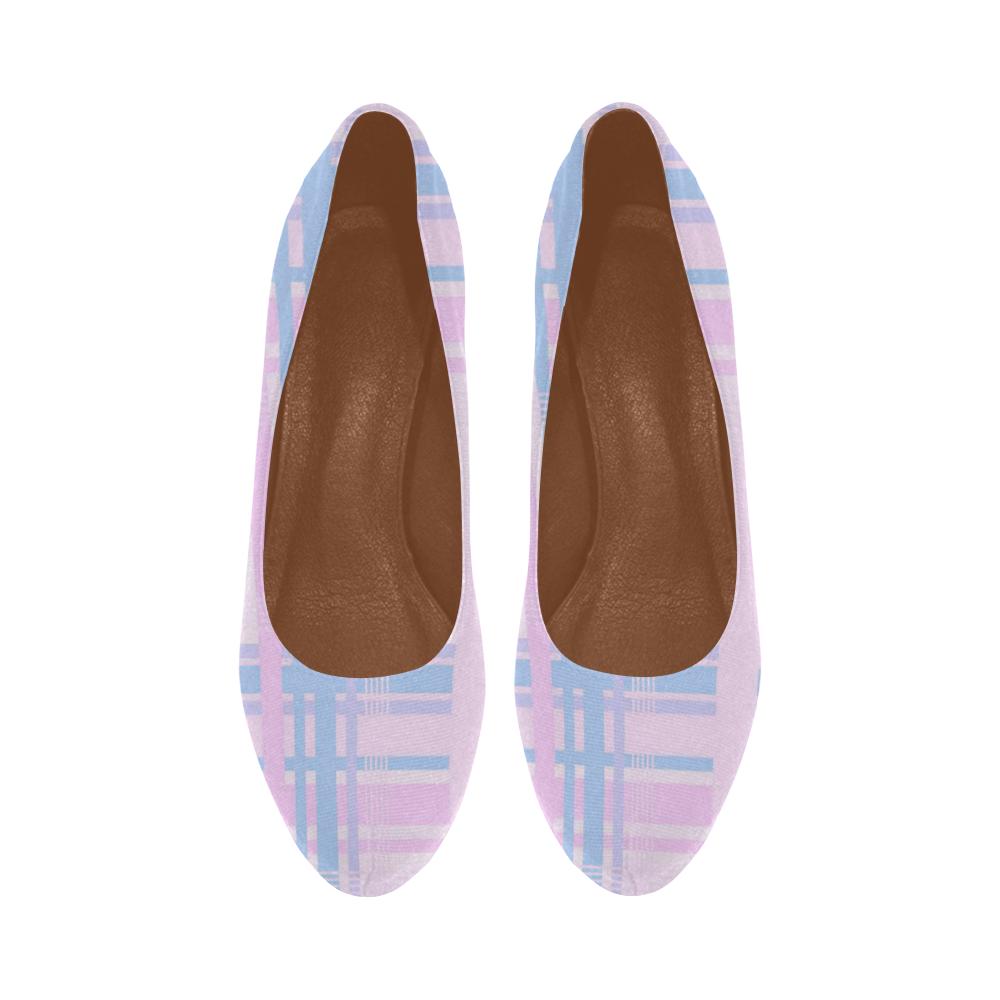 Pink Plaid Women's High Heels (Model 044)