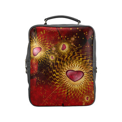 With Love Red N Gold Square Backpack (Model 1618)