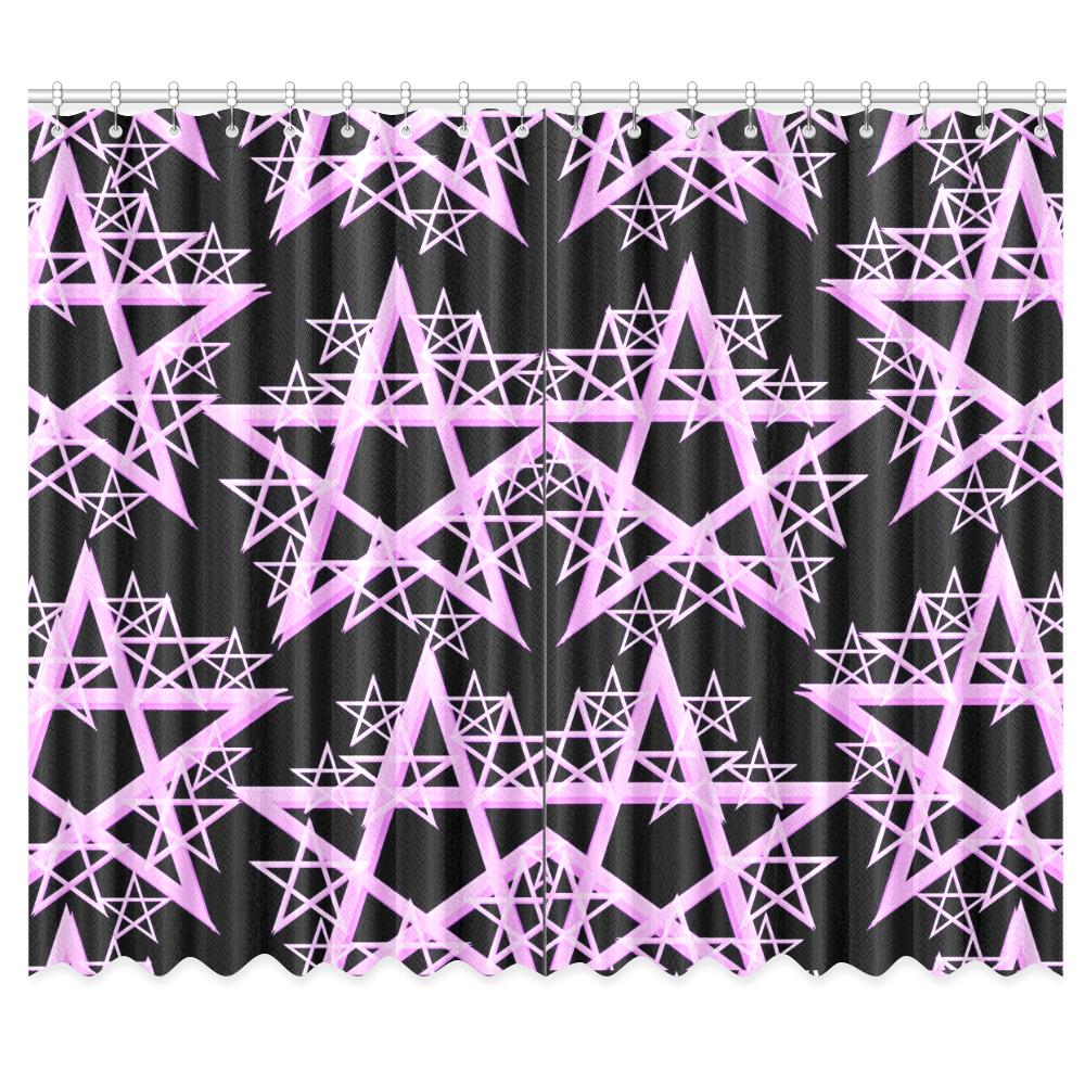 "Purple Pentacle Curtain Window Curtain 50""x84""(Two Piece)"