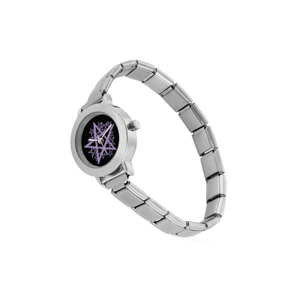 Purple Pentacle Ladies Watch Women's Italian Charm Watch(Model 107)