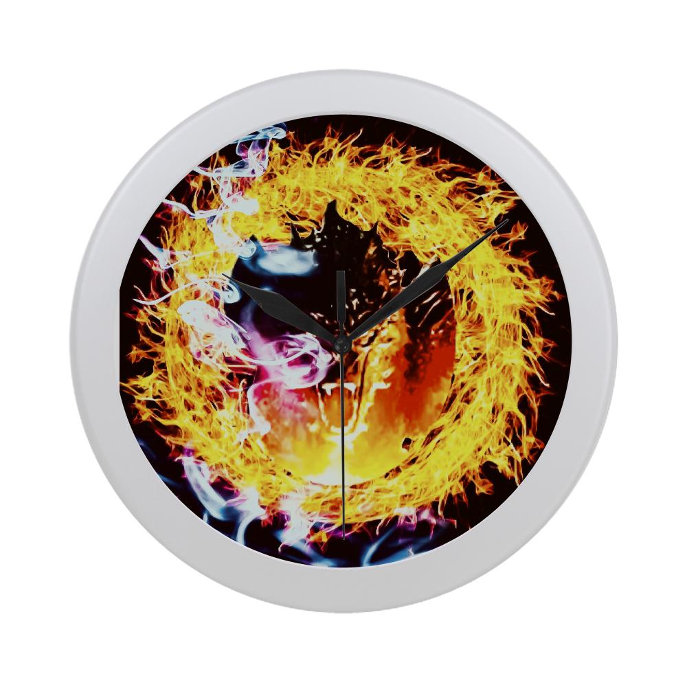Dragon Flame Wall Clock Circular Plastic Wall clock