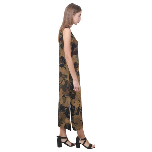 Black and Bronze Cells 3132 Phaedra Sleeveless Open Fork Long Dress (Model D08)
