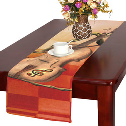 Violin and violin bow with flowers Table Runner 14x72 inch