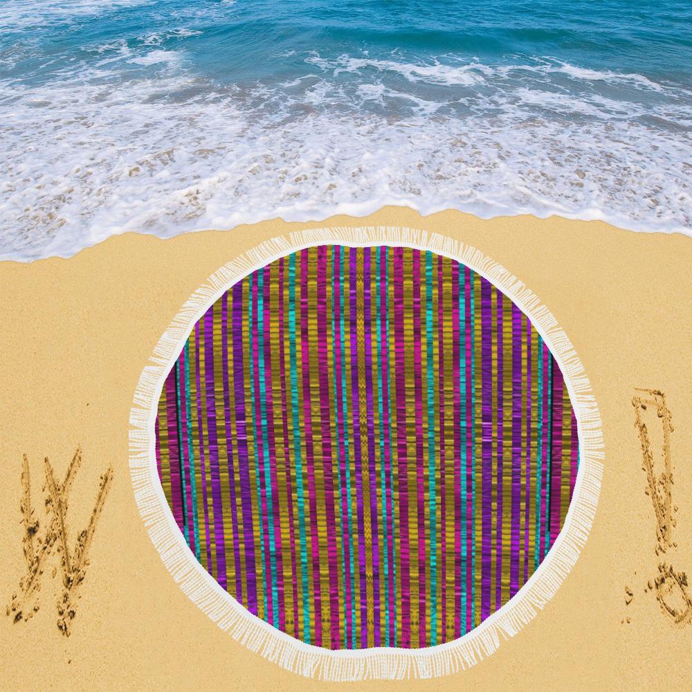 "Star fall in  retro peacock colors Circular Beach Shawl 59""x 59"""
