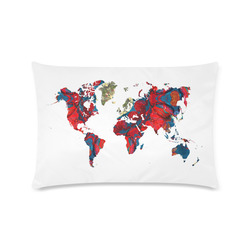"map of the world Custom Zippered Pillow Case 16""x24""(Twin Sides)"
