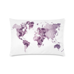 """map of the world Custom Zippered Pillow Case 16""""x24""""(Twin Sides)"""