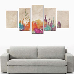 New York City skyline 1 Canvas Print Sets D (No Frame)