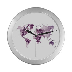 map of the world Silver Color Wall Clock