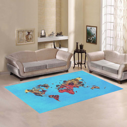 map of the world Area Rug7'x5'