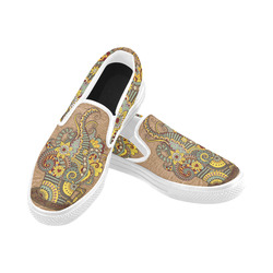 for coffee lovers Women's Unusual Slip-on Canvas Shoes (Model 019)