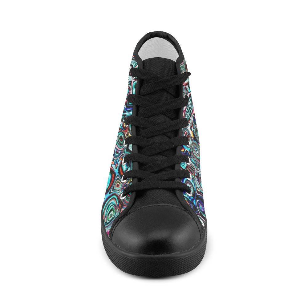 VanGogh Swirl - Jera Nour Women's High Top Canvas Shoes (Model 002)