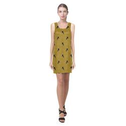 unicorn pattern golden by JamColors Helen Sleeveless Dress (Model D10)