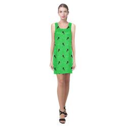 unicorn pattern green by JamColors Helen Sleeveless Dress (Model D10)