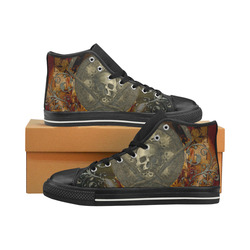 Awesome creepy skulls High Top Canvas Women's Shoes/Large Size (Model 017)