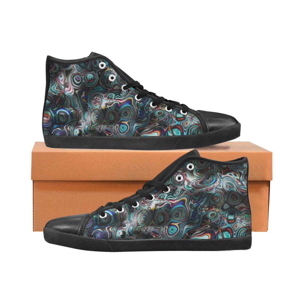 VanGogh Fur - Jera Nour Men's High Top Canvas Shoes (Model 002)