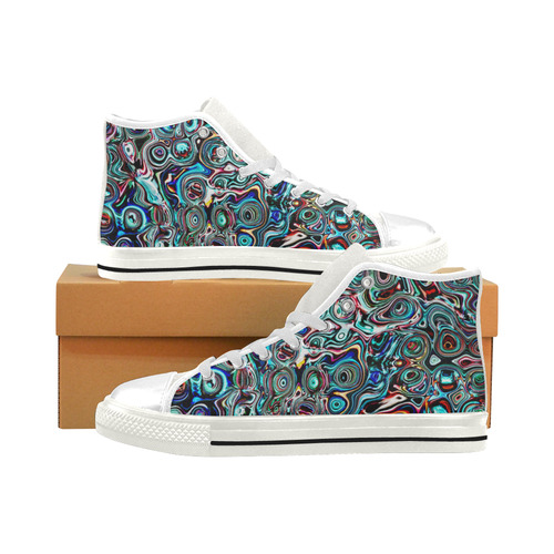 VanGogh Swirl - Jera Nour Men's Classic High Top Canvas Shoes (Model 017)