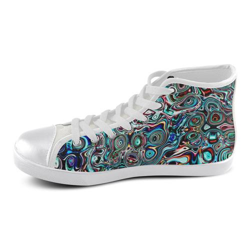 VanGogh Swirl - Jera Nour Women's High Top Canvas Shoes (Model 002)