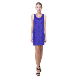 unicorn pattern blue by JamColors Helen Sleeveless Dress (Model D10)