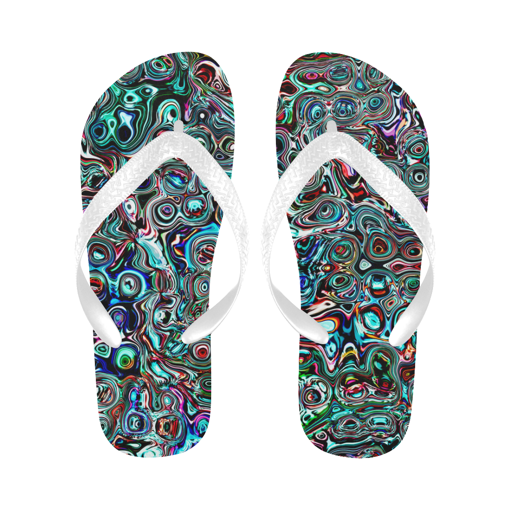 VanGogh Swirl - Jera Nour Flip Flops for Men/Women (Model 040)