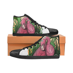 Flamingo High Top Canvas Women's Shoes/Large Size (Model 002)
