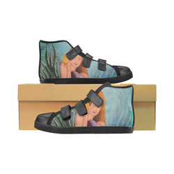 Mermaid Under The Sea Velcro High Top Canvas Kid's Shoes (Model 015)