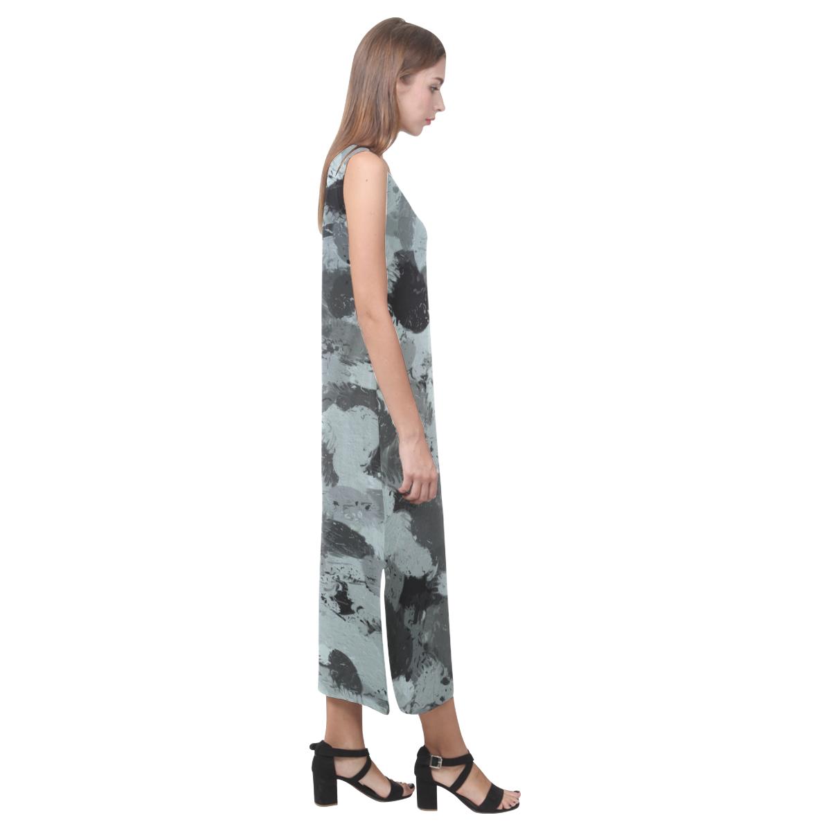 Black and Pastel Blue 3216 Phaedra Sleeveless Open Fork Long Dress (Model D08)