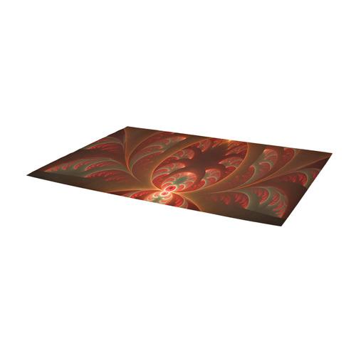 Magical Luminous Red Orange Fractal Art Area Rug 10'x3'3''