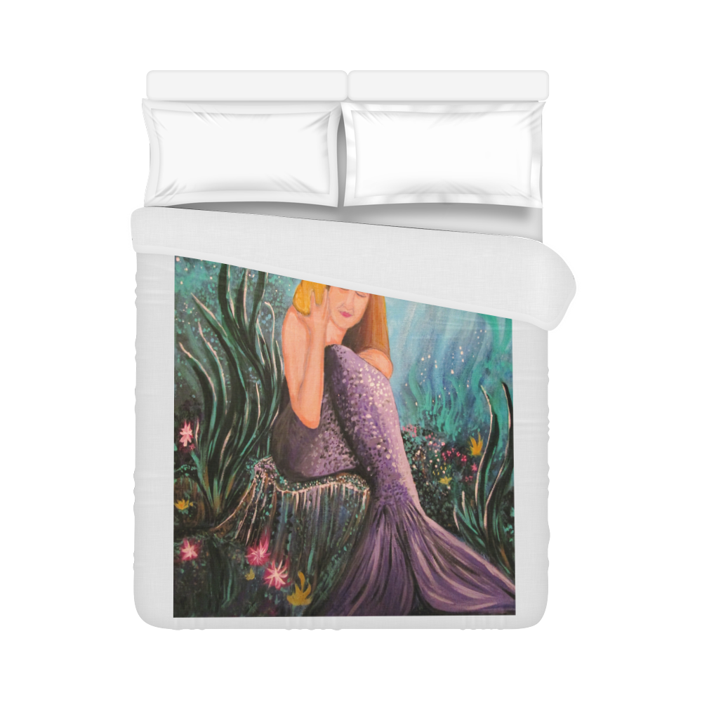 "Mermaid Under The Sea Duvet Cover 86""x70"" ( All-over-print)"