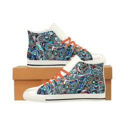 VanGogh Swirl - Jera Nour Aquila High Top Microfiber Leather Men's Shoes (Model 027)