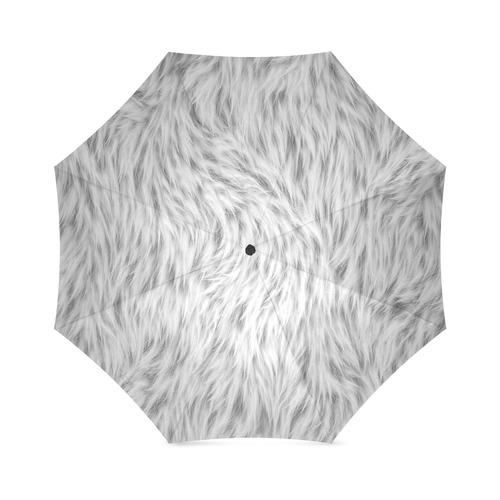 White Fur Foldable Umbrella (Model U01)