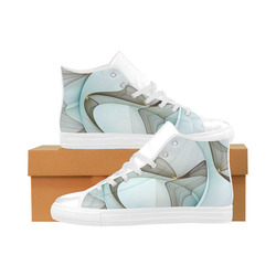 Abstract Modern Turquoise Brown Gold Elegance Aquila High Top Microfiber Leather Women's Shoes (Model 032)