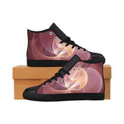 Movement Abstract Modern Wine Red Pink Fractal Art Aquila High Top Microfiber Leather Women's Shoes (Model 032)