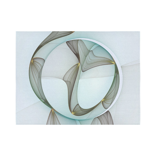 """Abstract Modern Turquoise Brown Gold Elegance Cotton Linen Wall Tapestry 80""""x 60"""""""