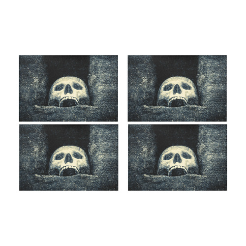 White Human Skull In A Pagan Shrine Halloween Cool Placemat 12'' x 18'' (Four Pieces)