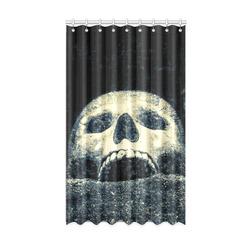 "White Human Skull In A Pagan Shrine Halloween Cool Window Curtain 50"" x 84""(One Piece)"