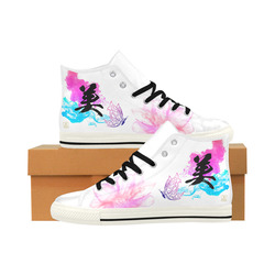"""Bi"" - Beauty Kanji Leather High Top Shoes - White Sole - Womens Aquila High Top Microfiber Leather Women's Shoes (Model 027)"