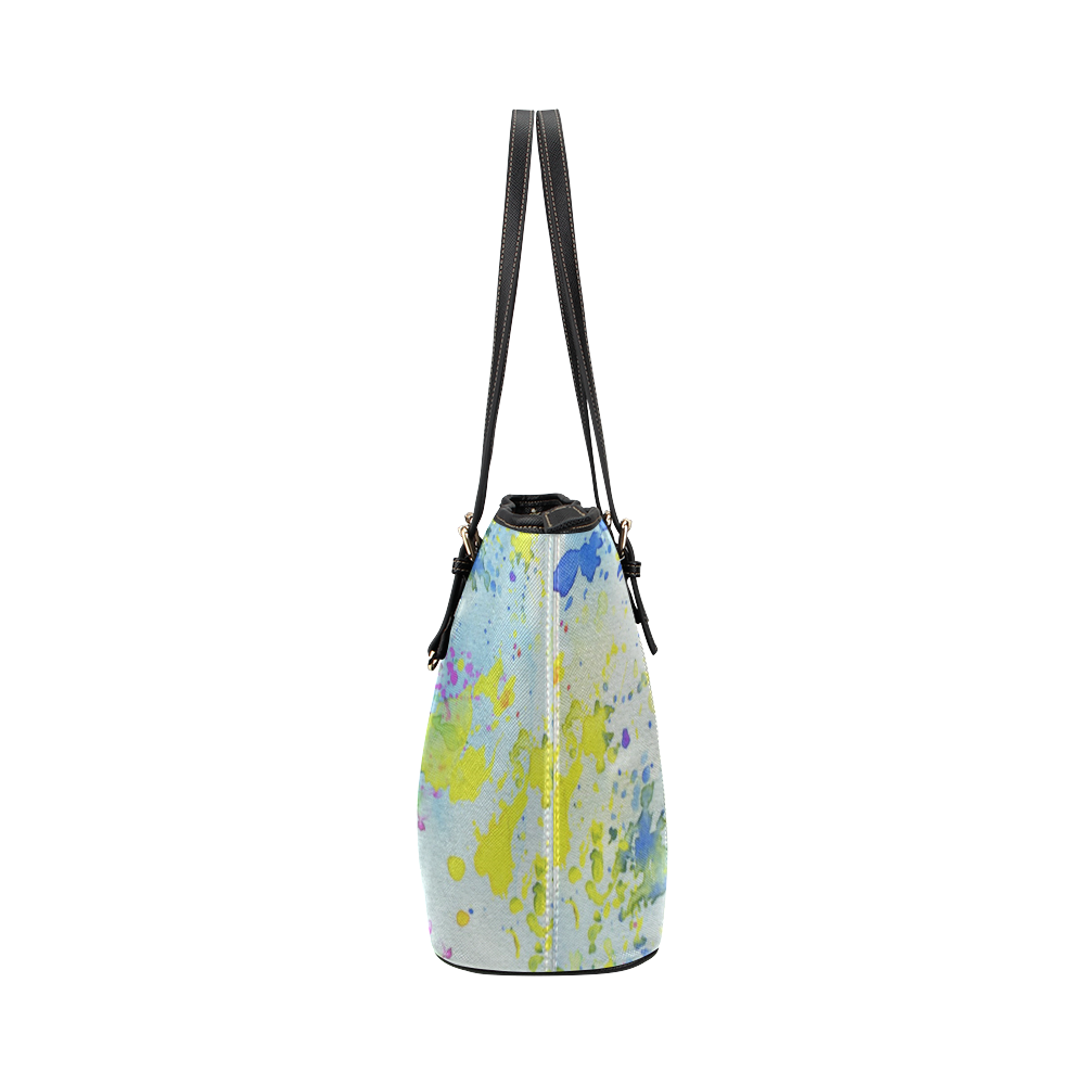 Watercolors splashes Leather Tote Bag/Large (Model 1651)