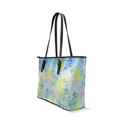 Watercolors splashes Leather Tote Bag/Large (Model 1640)