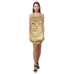 Orange Tabby Cat Medea Vest Dress (Model D06)