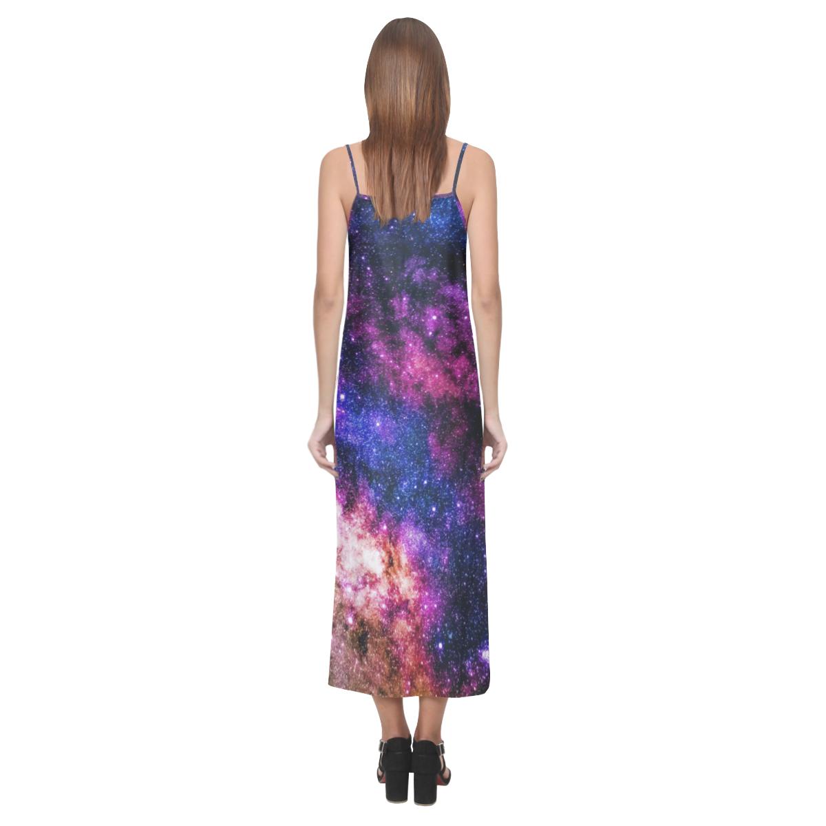 galaxy V-Neck Open Fork Long Dress(Model D18)