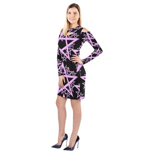 Purple Pentacle Cold Shoulder Long Sleeve Dress (Model D37)