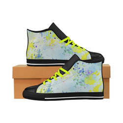 Watercolors splashes Aquila High Top Microfiber Leather Women's Shoes (Model 027)