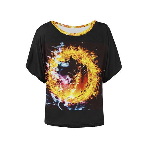 Dragon Fire Women's Batwing-Sleeved Blouse T shirt (Model T44)