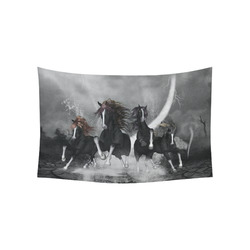 """Awesome running black horses Cotton Linen Wall Tapestry 60""""x 40"""""""