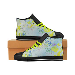 Watercolors splashes Aquila High Top Microfiber Leather Men's Shoes (Model 027)