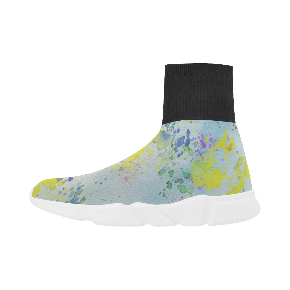 Watercolors splashes Unicorn Stretch Sock Men's Shoes (Model 039)