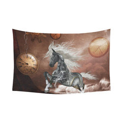 "Amazing steampunk horse, silver Cotton Linen Wall Tapestry 90""x 60"""