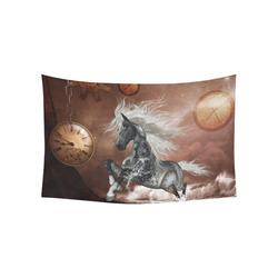 """Amazing steampunk horse, silver Cotton Linen Wall Tapestry 60""""x 40"""""""