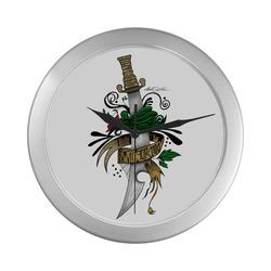 Symbolic Sword Silver Color Wall Clock