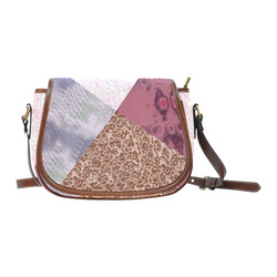 Patched in Pink Patterns Saddle Bag/Large (Model 1649)